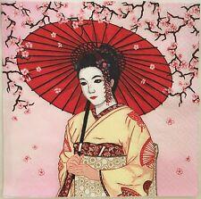 2 single paper napkins for Decoupage Collection Oriental Japan Geisha Sakura