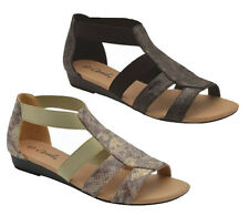 Ladies Shoes Grosby Fern Black Or Natural Elastic Snake Sandals Size 6-11 New