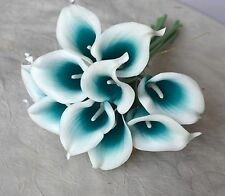 40PCS Teal Picasso Calla Lily Real Touch Flowers For Bridal Wedding Bouquets