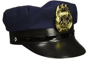 Police Hat - Navy Blue - Plastic Gold Badge - Costume Accessory - Child Size