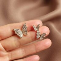 Luxury Butterfly Rhinestone Earrings Fashion Women Ear Stud Asymmetry Jewelry