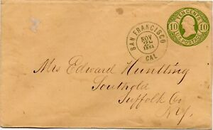 1861 San Francisco 10c, #U41 Postal Stationary to New York
