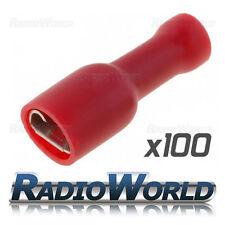 100x aislados Rojo Hembra de horquilla Conectores Empalme terminales de crimpeado Eléctrica J