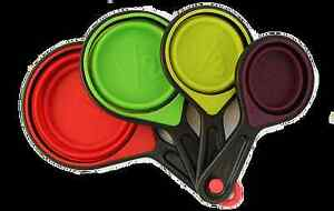 Silicone Collapsible Measuring Cups & Spoons, 4-Pc Set Folding Multi-Color