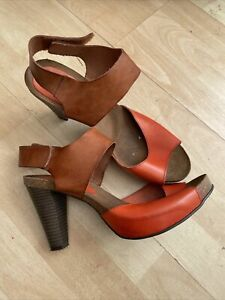 Moda In Pelle Size 6.5 40 Leather Summer Sandals Orange Brown Cone High