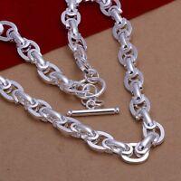 ASAMO Damen Halskette mit Steg Verschluss 925 Sterling Silber plattiert HA1265
