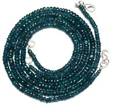 Natural Gem Moss Green Kyanite Faceted 4 to 5.5MM Rondelle Beads Necklace 19""