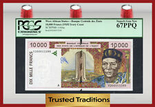 Tt Pk 114Aa 1992 West African States 10000 Francs Pcgs 67 Ppq None Finer!
