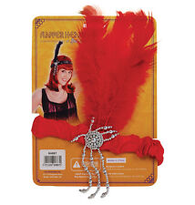 Women Flapper Red Headband & Feathers 1920'S Charleston Gatsby Costume Headpiece