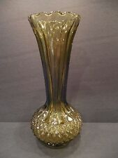 Vintage Avocado Green Glass Flower Bud Vase Cut Diamond Pattern Ribbed Fluted