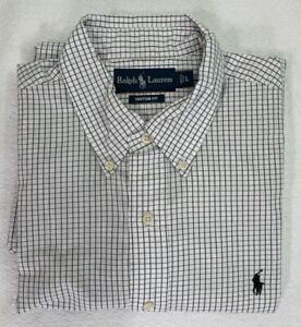 Ralph Lauren Polo Custom Fit Long Sleeve Check Button-Down Mens Shirt Size L EUC