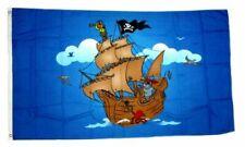 Fahne / Flagge Piratenschiff blau 90 x 150 cm