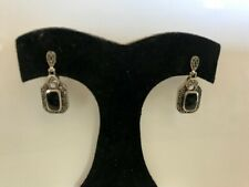 Earrings 925 Marcasite  Onyx Post - Drop Sterling Silver Elegant Nice Movement