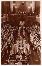Westminster Abbey Uk Queens Procession~Real Photo Postcard 1950s