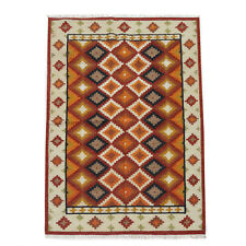 Geometric Oriental Turkish Kilim Runner Rug Hand-Woven Pastel Color Carpet 4x6