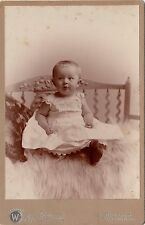 WM.A Webster 111 Moody St, Waltham Mass. Cabinet Card Full Length Portrait Baby