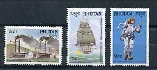Bhutan 1988 MNH Transportation 3v Set Ships Boats Steamboats Warships Stamps