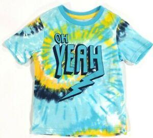 "Boys Tie Dye Shirt ""OH YEAH"" Unique Tie Dye Print Short Sleeve Shirt Kids Gift"