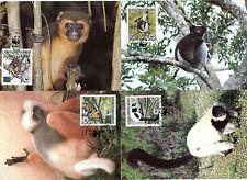 4 MK Maximumkarten Madagaskar 1988 WWF Lemuren Nr: 1110 - 1113 o Ersttag C_079