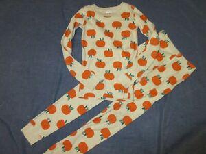 Girls HANNA ANDERSSON Fall 2 Pc PAJAMAS - Sz 130 or 8 - PUMPKINS - Beige/Orange