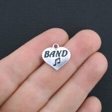 6 Band Heart Charms Antique Silver Tone - SC1259