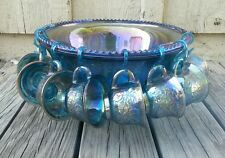 Indiana Glass Carnival Blue Harvest Princess Punch Bowl Set 8 Cups & Hangers