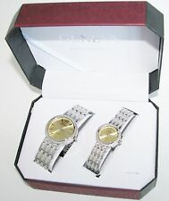 GENEVA CLASSIC SILVER TONE TEXTURED+GOLD DIAL 2,TWO PIECE HIS+HER WATCH SET+BOX