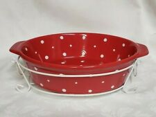 Temp-tations - Red Polka Dot Oval Casserole / Baking Dish, Trivet, Wire Carrier