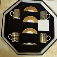 Boxed Set of 4 Wedgwood ARRIS Accent Espresso Demitasse Coffee Cups & Saucers