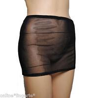 MINI SKIRT SEXY BLACK NET MESH SEE THROUGH STRETCH SHEER CLUB LINGERIE DANCE S56