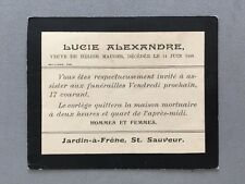 Genealogy: Memorial Death Funeral Card #A23 ALEXANDRE Lucie 1898 Guernsey