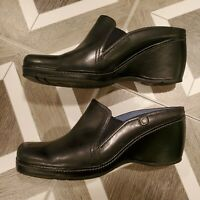 "Rockport Dynamic Black Leather 3.75"" Wedge Mules Clog Shoes Size 7.5 M Women's"
