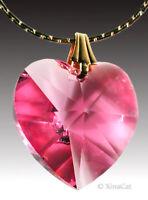 Swarovski 18mm ROSE Pink HEART Austrian Crystal Pendant 3/4 inch