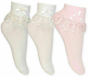 1 3 6 Pairs Girls Frilly Lace Ankle Wedding Occasion Socks Cotton Jester 000-4-6