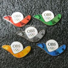 2018 Pyeongchang Winter Olympic OBS Red Green Grey Orange Blue Media 5 Pin Set