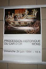 Aff Procession Ducasse Messine Mons doudou car d'or lumeçon beffroi st Georges