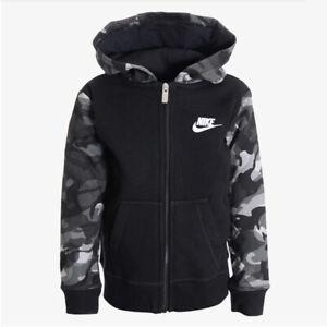 Nike Sportswear Club Fleece Camo Hoodie Boys Black / Grey / White 86F686-023 NEW