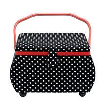 Prym Cesta de costura Polka Dots negro/blanco 32 x 20,5 20cm caja 612246