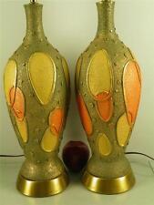 PR MID CENTURY MODERN RETRO MULTI COLOR CHALKWARE LAMPS GREEN ORANGE YELLOW