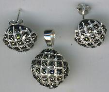 "925 Sterling Silver Dark Marcasite Stud Earrings & Pendant Set on  18"" Chain"