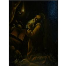 Continental Oil Painting on Board of Saint Jerome