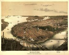 """50"""" VINTAGE ART PRINT: Boston View from the North, 1877"""