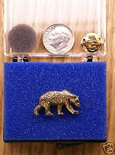 24k Gold Plated Grizzly Bear Single Posted Pin/tie Tack
