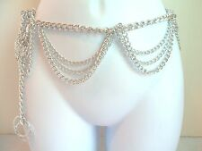 Hong Kong Signed Silver Hanging Dangly Chain Belt Vintage Estate
