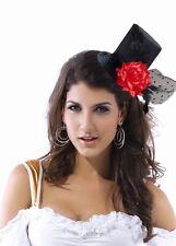 Cappello cappellino Burlesque NERO fascinator tub pamela rosa rossa con velo 91a716b4ad60