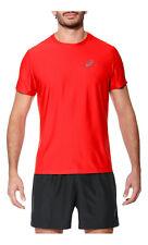 Asics Essentials Uomo Rosso Manica corta Girocollo Maglietta da Corsa T-shirt S