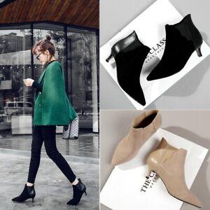 Women Pointed Toe Med Stiletto Heel Zipper Herringbone Ankle Work Fashion Boots