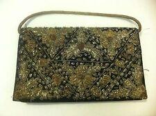 Rare Vintage 1930-1940's Black & Gold Purse EMBROIDERY Beaded Velvet Clutch