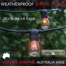 20m Black Festoon String Lights | Outdoor Party Patio | Waterproof | Wedding