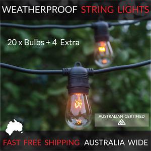 20m Black Festoon String Lights | Outdoor Party Patio | Waterproof | Wedding